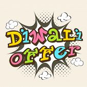picture of diwali  - Stylish text of Diwali Offer on beige background for Happy Diwali celebrations - JPG