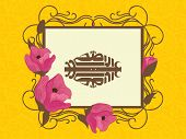 Arabic islamic calligraphy of text Eid-Ul-Adha written on a floral design decorated frame for Muslim