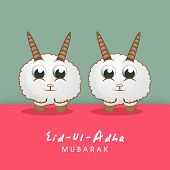 Muslim community festival of sacrifice Eid-Ul-Adha greeting card design with sheep's on colorful background.