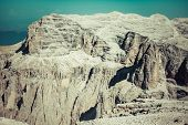 View To Punta Grohmann, Cinquue Dita, Sasso Lungo, Piz Ciavaces From Sass Pordoi, Dolomiten, Italia,