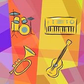 image of jive  - Musical instruments background with drums - JPG
