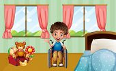 Illustraion of a boy on wheelchair in bedroom