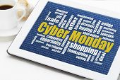 Cyber Monday word cloud  on a digital tablet with a cup of coffee - a holiday online shopping concept
