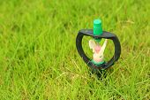 Sprinkler Is Stuck In In The Grass.