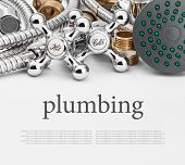 image of plumber  - All kinds of plumbing and tools on a gray background - JPG