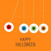 Hanging eyeballs with bloody streaks. Perpetual motion. Happy Halloween orange card. Flat design sty