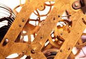 pic of wind up clock  - Close up of an internal clock mechanism - JPG