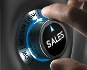 image of toned  - Sales button pointing the highest position with two fingers blue and grey tones Conceptual image for sales strategyor performance - JPG