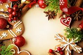 picture of recipe card  - decorative christmas gingerbreads frame background - JPG