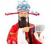 God Of Wealth Pointing A Compute Machine Over White Background