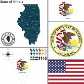 Map Of State Illinois, Usa