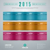 stock photo of august calendar  - Calendar 2015 vector template week starts monday - JPG