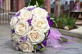 Bouquet of fresh flowers for the wedding ceremony.