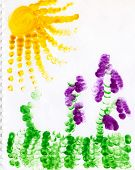 Child fingerpainting of grapevines, sun a grass