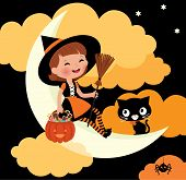 Little Witch Riding On The Moon On Halloween Night