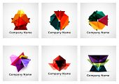 Colorful geometric shape icon collection, company branding logo design set