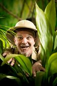 Explorer Discovering Rainforest Jungle