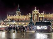 KRAKOW, POLAND - DECEMBER 19 2013: Annual christmas fair with seasonal stands organized during chris