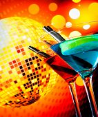 Blue And Red Cocktail With Sparkling Disco Ball Background With Space For Text Selected Focus
