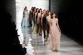 NEW YORK-SEP 8: Models walk the runway at the Reem Acra fashion show during Mercedes-Benz Fashion Week Spring/Summer 2015 at The Salon at Lincoln Center on September 8, 2014 in New York City.