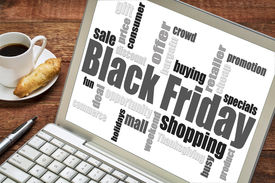 picture of friday  - Black Friday shopping word cloud on a laptop computer with a cup of coffee - JPG