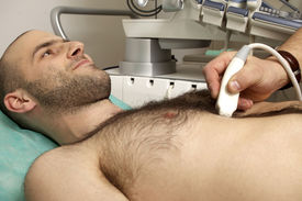 picture of stenography  - cardiac ultrasound examination testing on young men - JPG