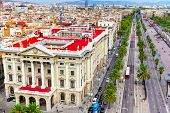 stock photo of christopher columbus  - Panorama on Barcelona city from Columbus monument - JPG