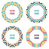Four Round Frames With Abstract Geometric Patterns