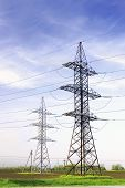 image of power transmission lines  - Power Transmission Line in outdoor land view - JPG