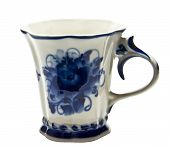 White Cup With Blue Painting