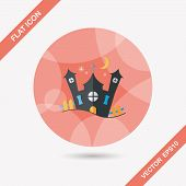 Halloween House Flat Icon With Long Shadow,eps10