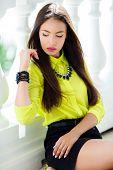 image of straight jacket  - Beautiful girl oriental appearance - JPG