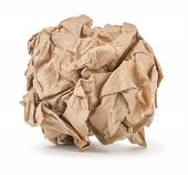 Kraft Paper Crumpled Into A Ball On A White Background