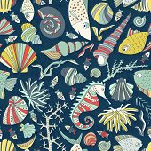 foto of shell-fishes  - Vector seamless pattern with hand drawn fishes - JPG