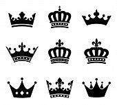 stock photo of emperor  - Set of 9 crown vector silhouette symbols - JPG