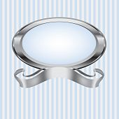 Blue and Gray Pearl Frame with Silver Ribbon