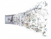 Hundred dollar bill splits
