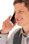 Closeup Man On Cell Phone.