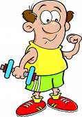 Cartoon man holding a dumbell.