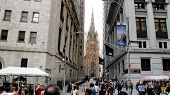 Trinity Church As View From Wall Street