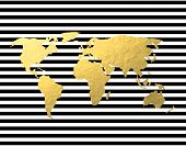 World Map in Gold Foil and Black White Stripes