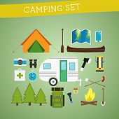 Bright cartoon camping equipment icon set in vector. Recreation, vacation and sport symbols. Flat de