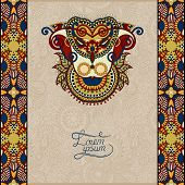 invitation card with neat ethnic background, royal ornamental de