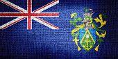 Pitcairn Islands flag on burlap fabric