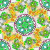 Seamless Kaleidoscopic Pattern In Yellow, Green And Pink