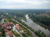 The M?lník town - confluence rivers Vltava and Elbe