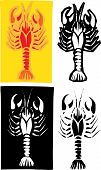 pic of crawdads  - Woodcut style image of lobster or crayfish in different layouts - JPG