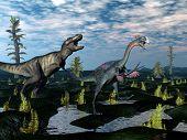 Tyrannosaurus rex attacking gigantoraptor dinosaur - 3D render