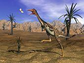 Mononykus dinosaur hunting - 3D render