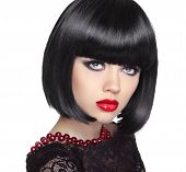 Beautiful Woman With Black Short Hair. Haircut. Hairstyle. Fringe. Professional Makeup. Lady Isolate
